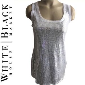 WHBM White Sequin Sleeveless Tank Top M